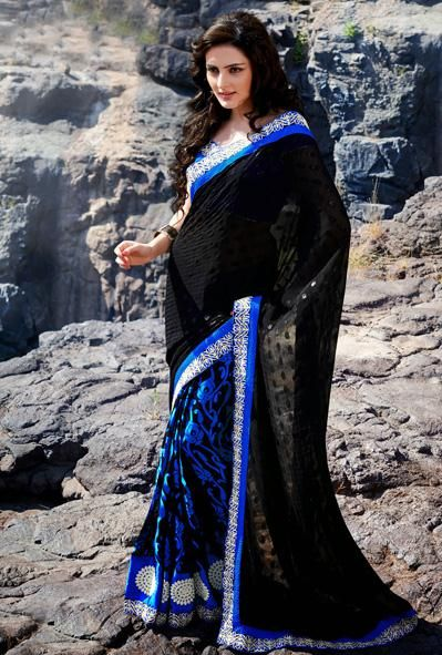 USD 59.72 Black and Blue Brasso Party Wear Saree 30452