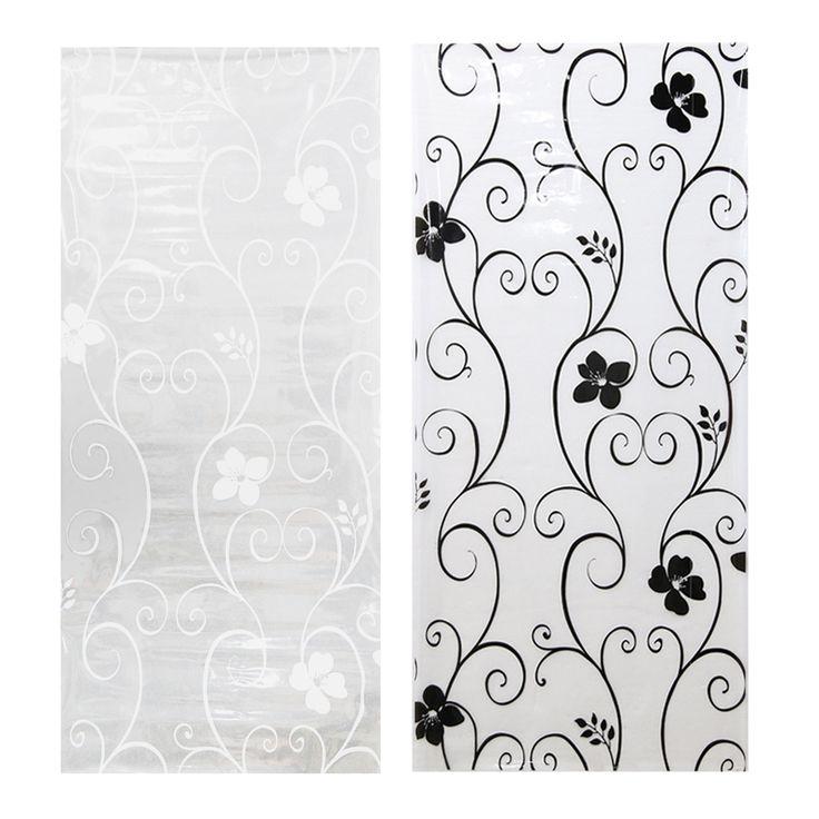 """45*100 cm/17,7 """"* 39,4"""" Matt Milchglas Fensterfolie Privatsphäre Glas Aufkleber Wohnkultur Black & white Schmiedeeisen Blume"""