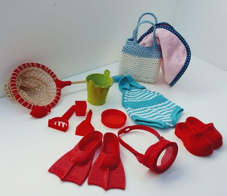 Set da spiaggia per Zisa Dolls e altre bambole alte 46 cm.