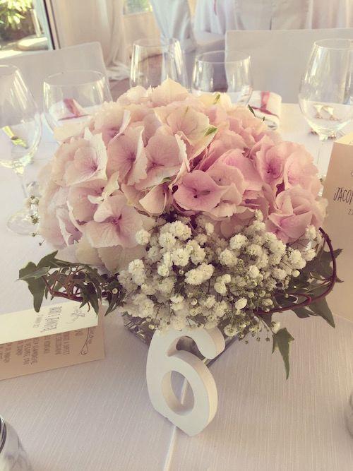 centrotavola charme en blanc, ortensia rosa