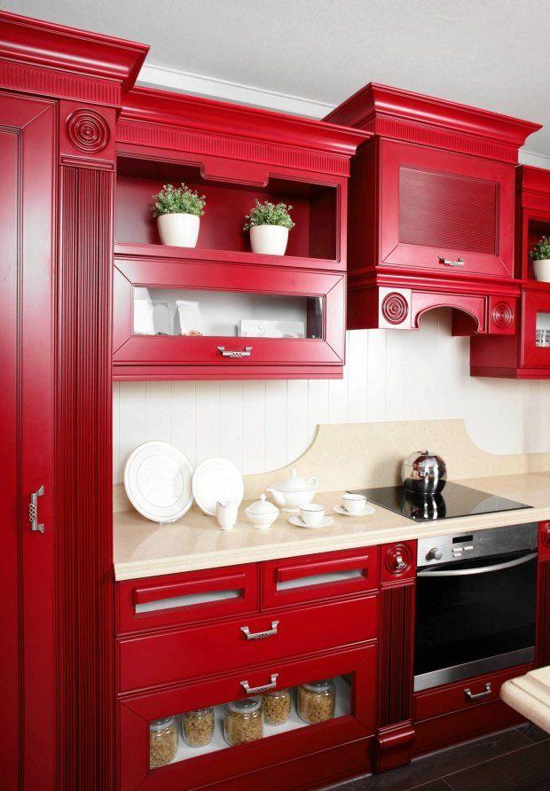 Kolor W Kuchni Czerwone Inspiracje Decor Kitchen Cabinets Kitchen