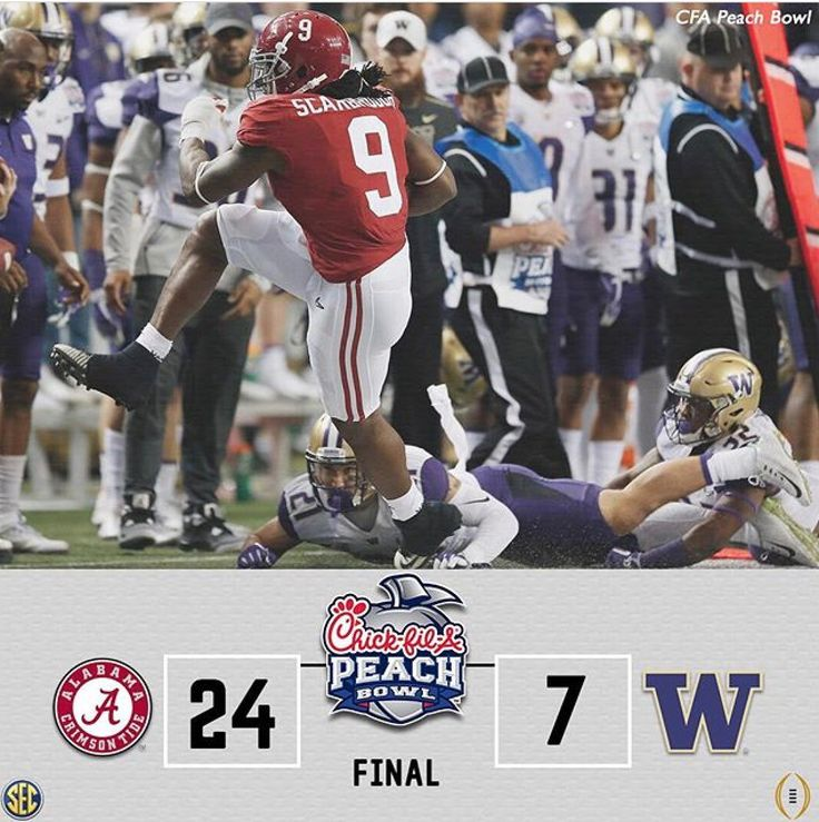 Alabama 24 Washington 7 in the 2016 Peach Bowl CFB Playoff. #CFBPlayoff #BAMAvsWASH #PeachBowl #Alabama #RollTide #Bama #BuiltByBama #RTR #CrimsonTide #RammerJammer