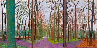 David Hockney (Ang. 1937- ),Woldgate Woods, March 30 - April 21 2006,huile sur 6 toiles, 75 x 150 in.