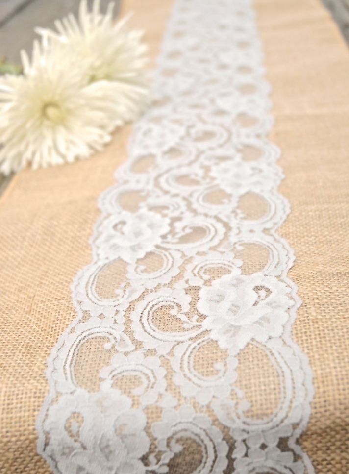 Burlap Table Runner with Lace. I did this for Jessica and it