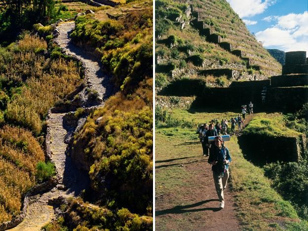 Qhapaq ñan, Andean road system (The Inca road system was the most extensive and advanced transportation system in pre-Columbian South America. The network was based on two north-south roads with numerous branches. The best known portion of the road system is the Inca Trail to Machu Picchu).