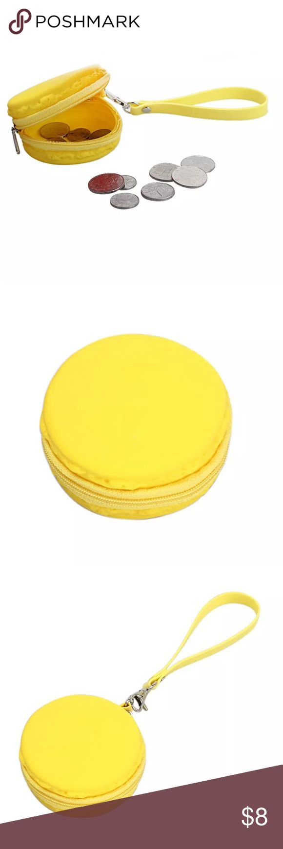 Macaroon Coin Bag Mmm macaroon! This cute little bag is a bright yellow with a zip all the way around. Easy to carry on your wrist or lopped onto a key ring. About 3 inches. Price is for one. Bags Mini Bags