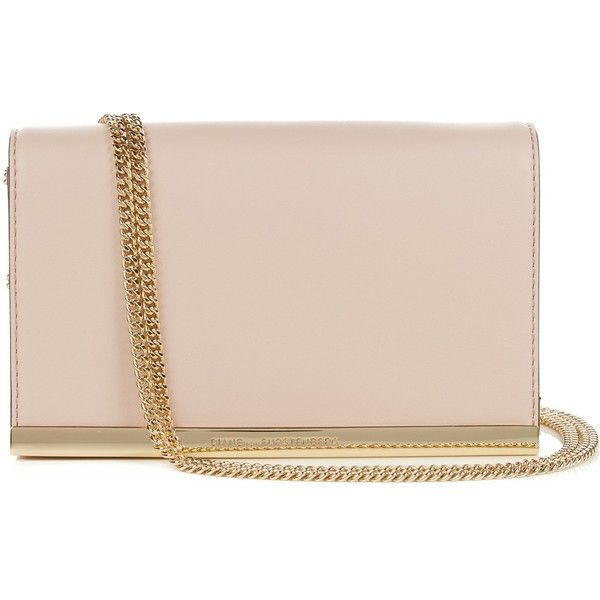 Diane Von Furstenberg Soirée clutch found on Polyvore featuring bags, handbags, clutches, light pink, leather purses, nude clutches, genuine leather purse, pink leather handbags and leather handbags
