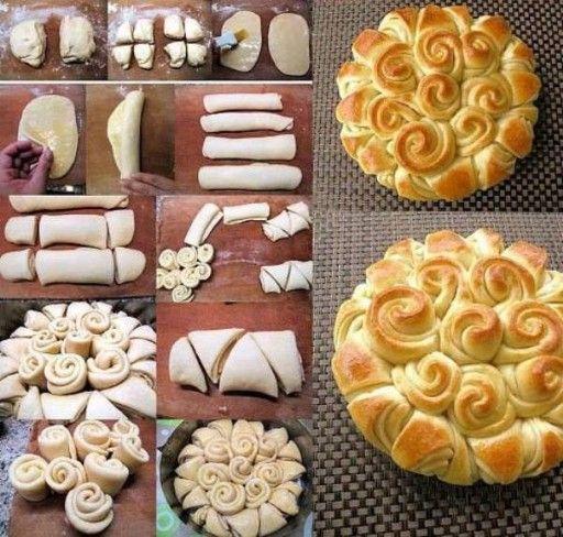 Culinary school how to make cute DIY flower wreath happy bread step by step DIY tutorial instructions and recipe 512x488 Culinary school   h...