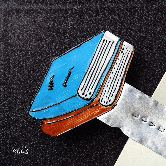 Hand Painted Blue Brown Books Hand Stamped by EVIsMetalworkJewelry, €9.00