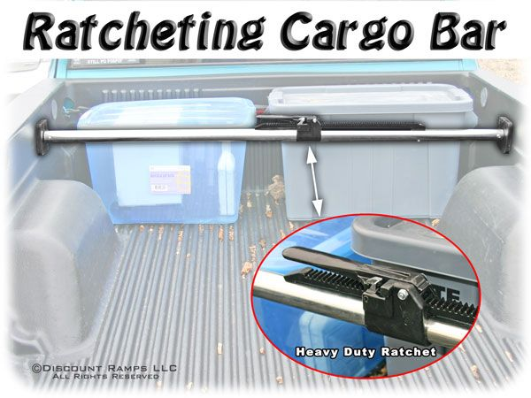 Ratcheting Cargo Bar from Discount Ramps keeps coolers, toolboxes and other equipment from shifting around in the bed of a pickup truck, car trunk or rear space of an SUV while on the road.