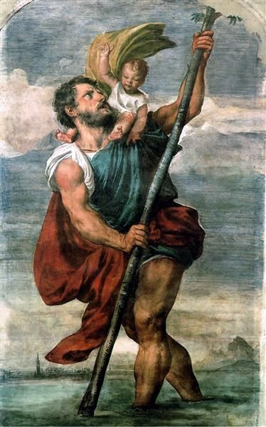 Saint Christopher, 1524 by Titian. High Renaissance. religious painting. Private Collection