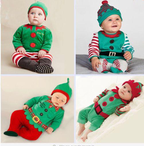 Bebé SANTA Traje Pijama Conjunto Elfo De Ropa De Invierno Pantalones Navidad Rompers Sombreros