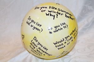 The 'Conversation Ball' is a great way to stimulate social engagement.   Toss the ball to someone and the person who catches the ball will answer the question closest to their thumb. You can find ideas for questions on www.dementiability.com under 'free downloads'.
