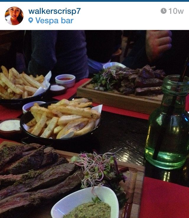 Western food: prime succulent steak chips and basil pesto