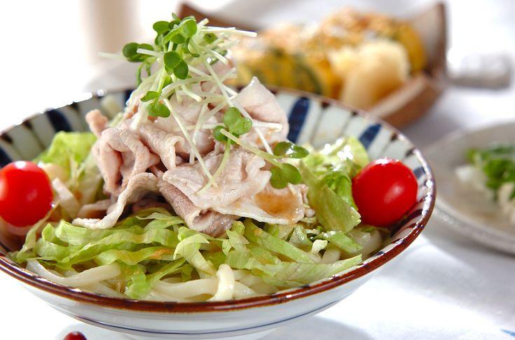 豚しゃぶのせサラダうどん【E・レシピ】料理のプロが作る簡単レシピ/2012.05.21公開のレシピです。