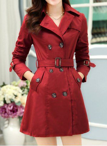 Fashionable Lapel Solid Color Lace-Up Long Sleeve Women's Trench Coat