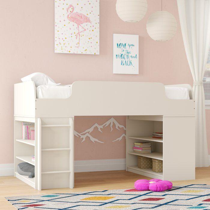 Twin Low Loft Bed With Shelves Low Loft Beds Kid Beds Loft Bed