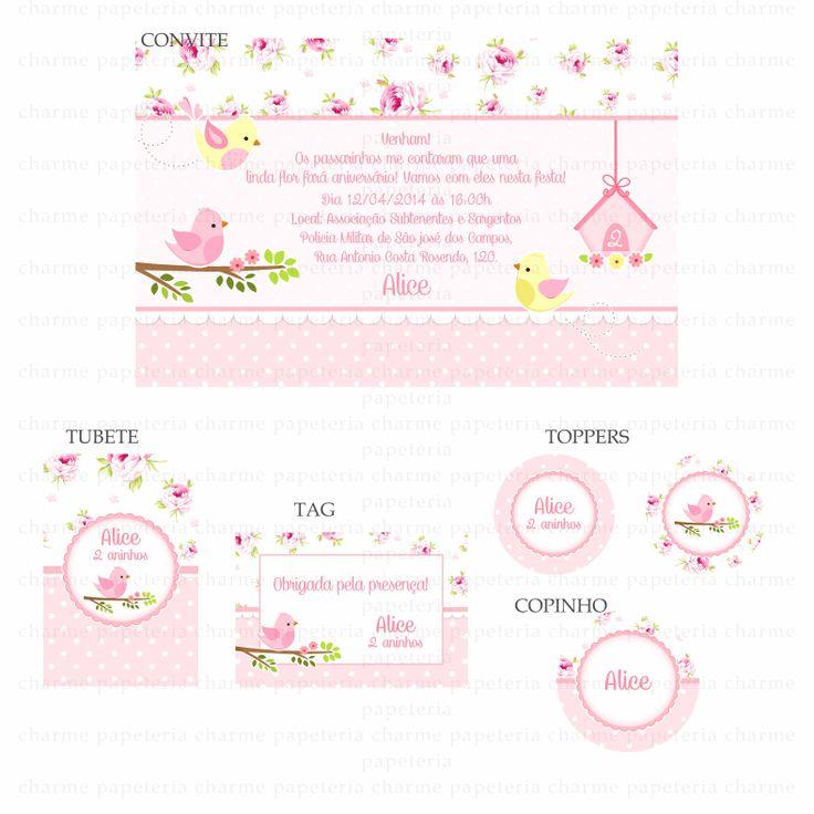 Kits digitais Charme Papeteria - Jardim dos passarinhos