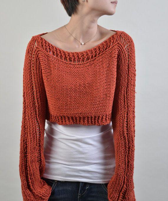 Suéter de punto a mano poco encogimiento de hombros cubrir