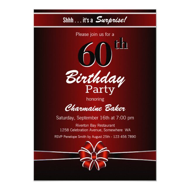 Black And Red Surprise 60th Birthday Party Invitation Zazzle Com In 2020 Surprise Birthday Party Invitations 50th Birthday Party Invitations 30th Birthday Party Invitations