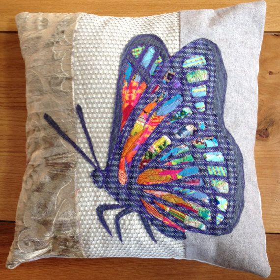 Neutral background, handmade, rainbow Butterfly Cushion. on Etsy, £95.00