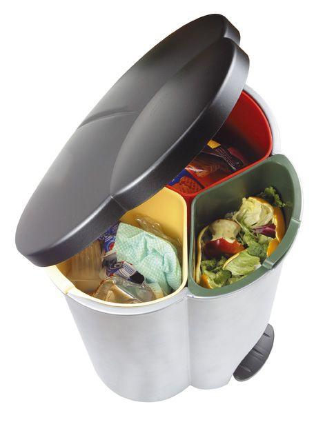 #accesorios de #cocinas Cubo de basura con triple clasificador
