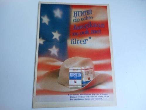 Hunter sigaretten - 4 paginagrote tijdschriftadvertenties uit 1962/1964 paginagroot (25 cm x 35 cm). Achterop de advertenties met potlood genoteerd: het tijdschrift, het nummer en de datum.