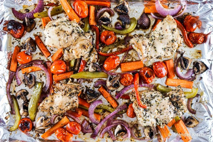 Roasted Balsamic Chicken Thighs and Vegetables - Slender Kitchen. Works for Clean Eating, Gluten Free, Low Carb, Paleo, Weight Watchers® and Whole30® diets. 331 Calories.
