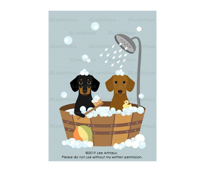 43g 5x7 Two Dachshund Dogs In Wooden Bathtub Wall Art Etsy In 2021 Dachshund Dog Etsy Wall Art Wooden Bathtub