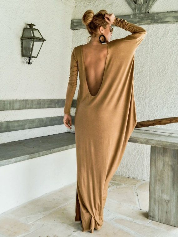 Camel Taupe jurk Kaftan met naakt See-Through door SynthiaCouture