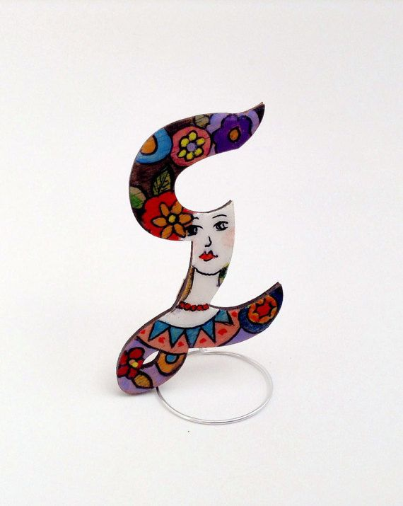 Hand painted personalized wooden brooch jewelry, crystal resin coated, pin finding, Greek Letter Σ (sigma)
