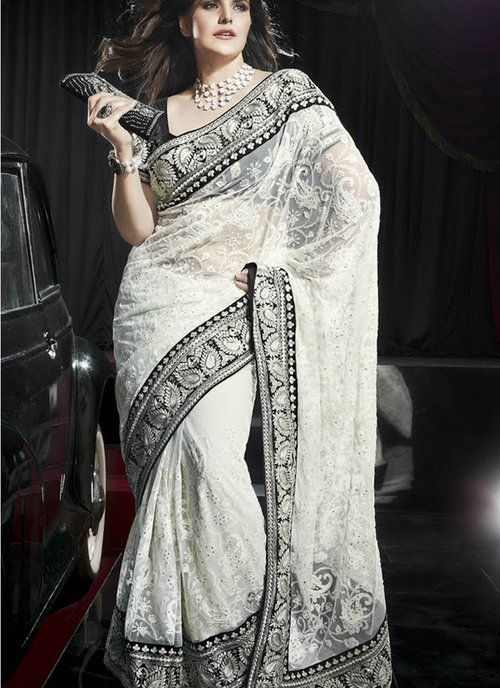 White Net Designer Saree Zarine Khan Collection