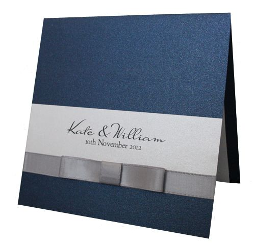 Navy Blue invitation with silver bow tie from www.hootinvitations.com.au
