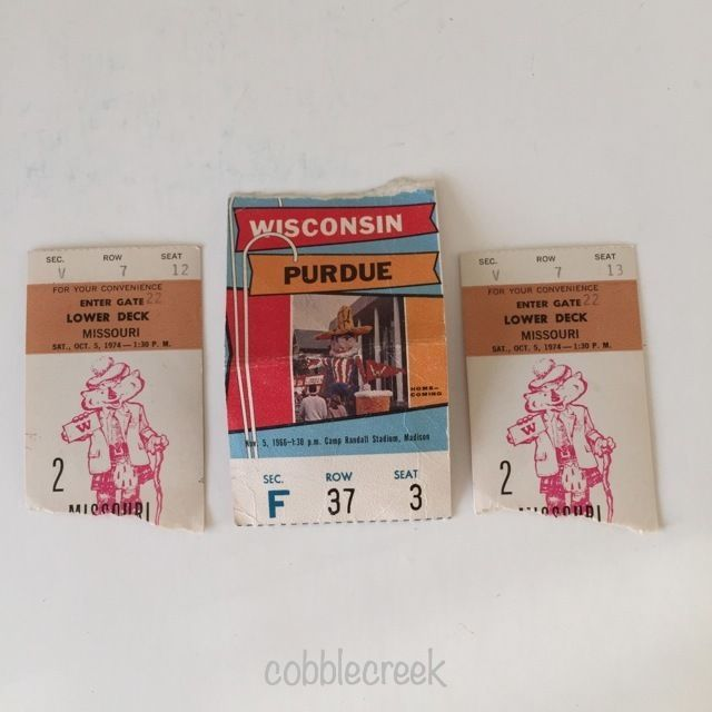 Vintage Wisconsin Badgers Football Ticket Stubs 1966 vs Purdue 1974 vs Missouri #wisconsin #badgers #purdue #football