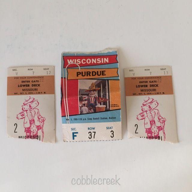 Vintage Wisconsin Badgers Football Ticket Stubs 1966 vs Purdue 1974 vs Missouri #wisconsin #badgers #purdue #football
