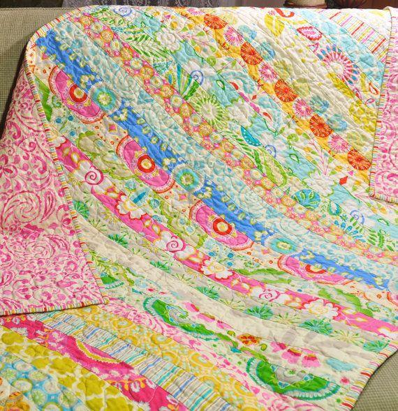 MADE TO ORDER Custom Baby Crib Quilt Girl Blanket Vintage Inspired Shabby  Chic Style Kumari Garden