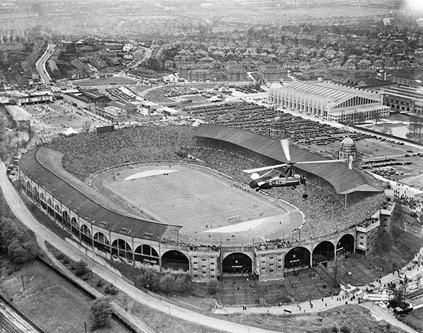 27 April 1935: Wembley Stadium, FA Cup Final. In this game Sheffield Wednesday beat West Bromwich Albion 4-2. The Cierva autogyro in the foreground was flown by Scotland Yard in an experiment with aerial crowd monitoring