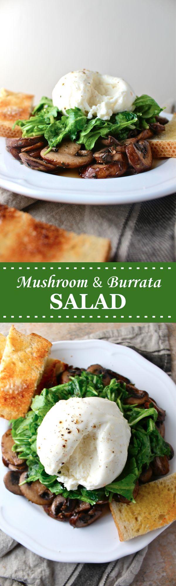 This Mushroom & Burrata Salad is loaded with creamy, sumptuous cheese and buttery, sautéed mushrooms - the dish of my dreams! | The Millennial Cook #salad #arugula #mushroom #burrata #italian