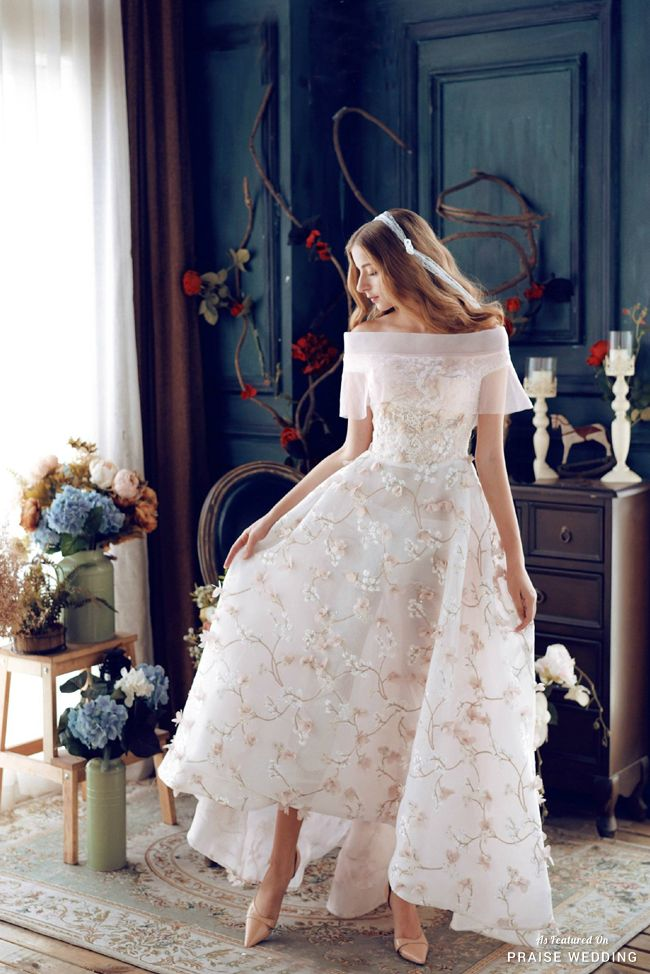 This tea length wedding dress from Cass Wedding featuring an illusion off-the-shoulder design and beautiful floral detailing is utterly romantic! » Praise Wedding Community