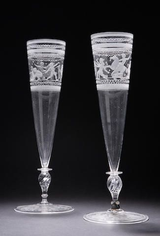 A Pair Of Orrefors Vases 20th Century Of Tapering Form Engraved