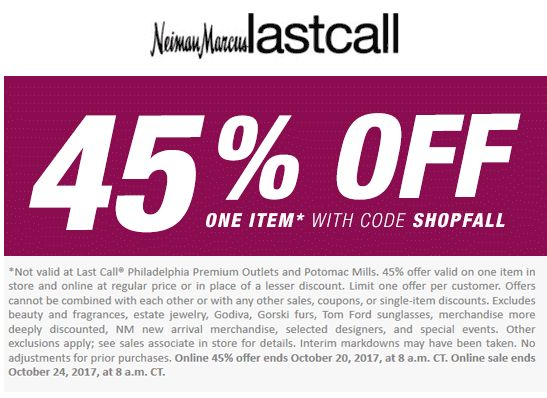 Pinned October 18th: 45% off a single item at Neiman Marcus #LastCall or online via promo code SHOPFALL #TheCouponsApp