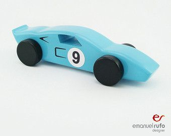 Blue Wooden Toy Car, Wooden Car for kids, boys, Classic Race Car, CL 02, Inspired by the Classic Ford Gt40