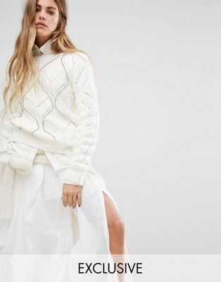 Seint - Pull en tricot torsadé avec clous argentés