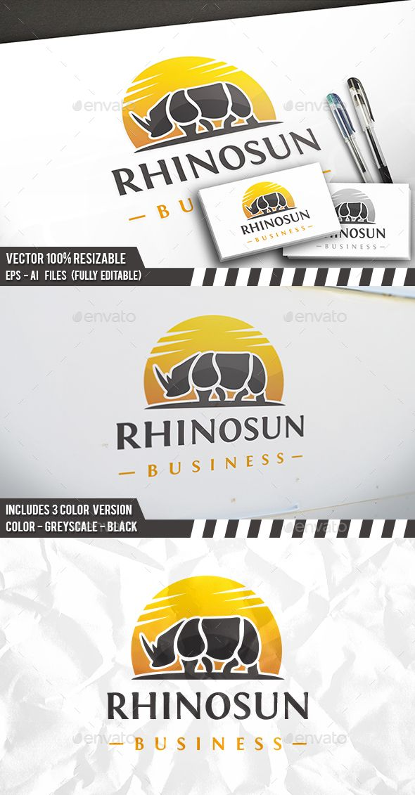 Rhino Sun Logo Template PSD, Vector EPS, AI