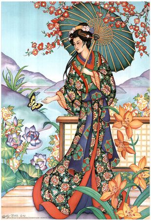Asian Lady with Parasol Art Print POSTER lithograph - Reprodüksiyon - AllPosters.com.tr'de.