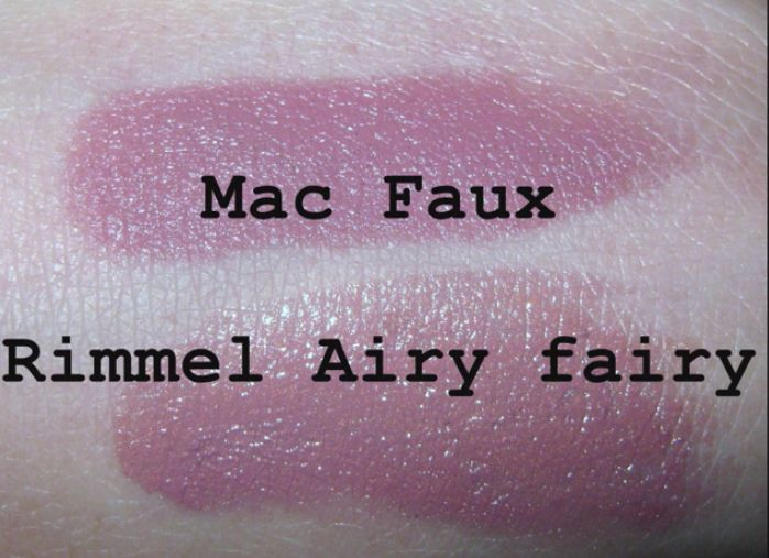 MAC lipstick in FAUX dupe - Rimmell Airy Fairy. This is my fave lipstick color!! But the Rimmell one is vary drying
