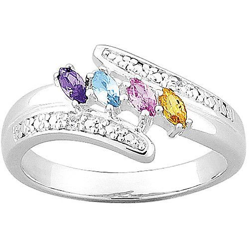 Zales Mothers Marquise Birthstone and White Topaz Posey Ring by ArtCarved in Sterling Silver (6 Stones and 2 Lines) oFBftmIM