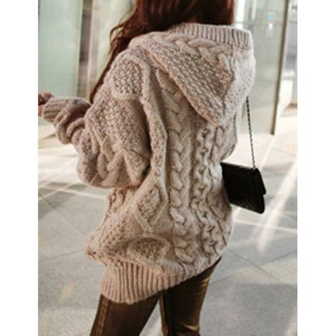 Stylish Cable-Knit Hooded Cardigan For Women