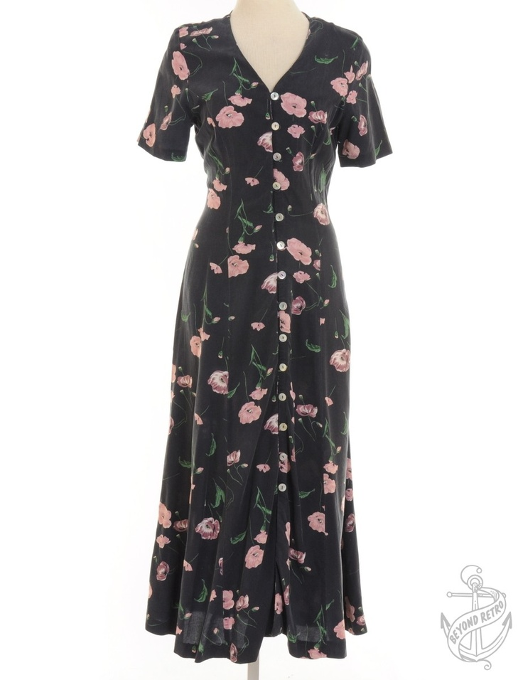 Vintage Giyim | A Flared Etek ile Maxi Elbise Lacivert