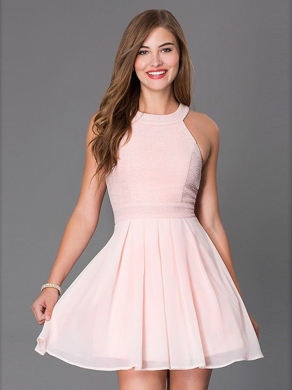 A-Line/Princess Scoop Sleeveless Bowknot Short/Mini Chiffon Dresses
